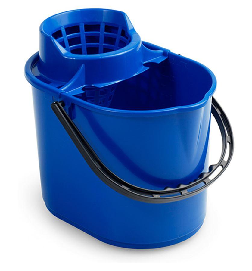 Ведро пластиковое с отжимом 12 литров синее